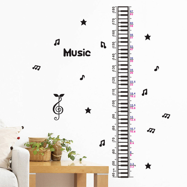 creative music piano star baby children height measure wall sticker