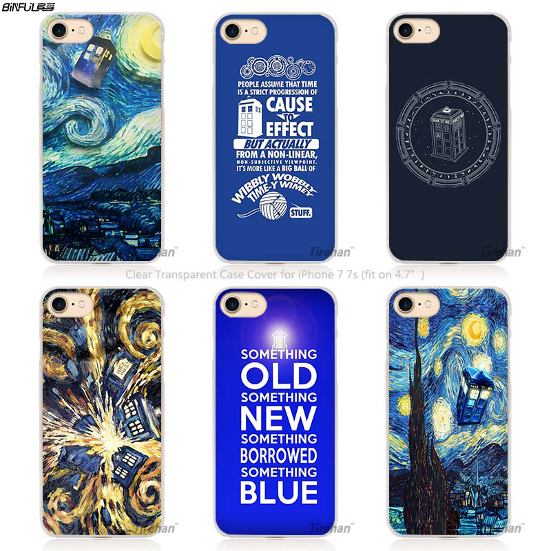 BiNFUL Hot Sale Doctor who van gogh Hard Transparent Phone Case Cover Coque for Apple iPhone 4 4s 5 5s SE 5C 6 6s 7 Plus