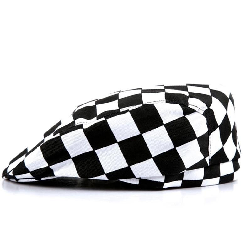2017 Fashion Man Plaid  Berets Hats Women Stripe Forward Caps Waiter Working Hat Free Shipping