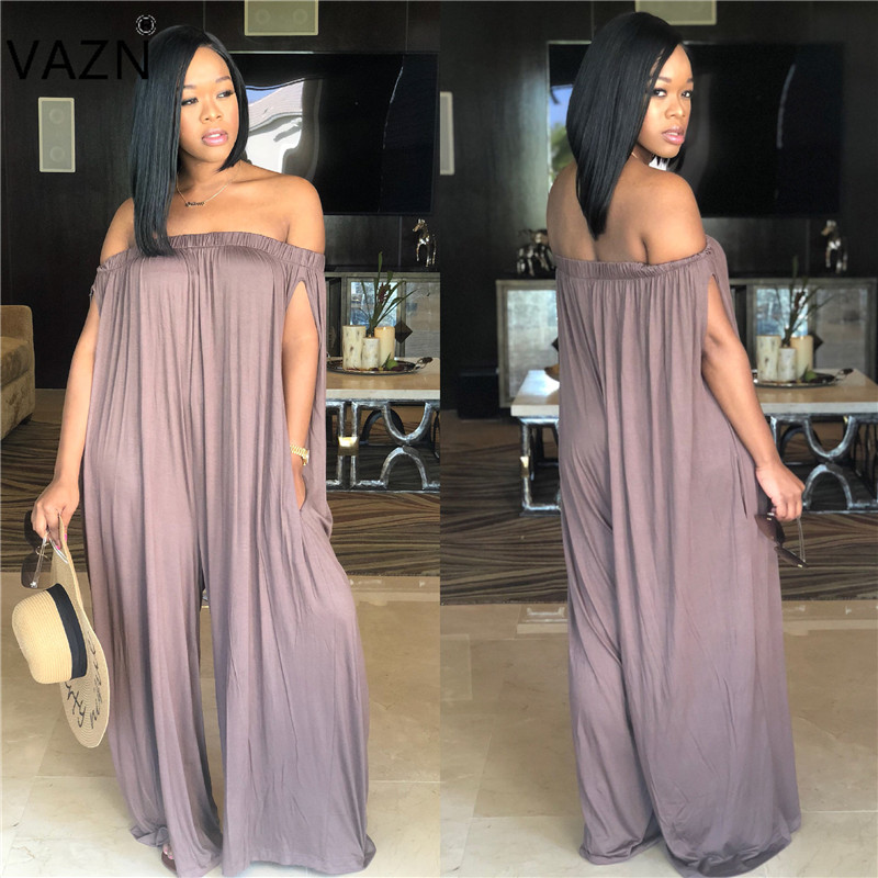 VAZN 2018 solid 4-colors slash neck jumpsuits women loose short sleeve jumpsuits ladies hollow out full length jumpsuits J1489