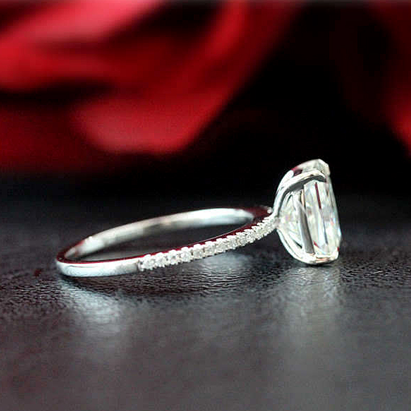 1.8ct 放射エメラルドカットモアッサナイト婚約指輪 14 18K ホワイトゴールドモアッサナイトブライダルリング/プロミスリング/結婚記念日リング  グループ上の ジュエリー & アクセサリー からの 指輪 の中 3