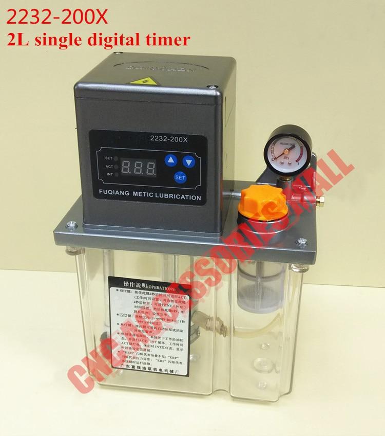 Pompa di lubrificazione automatica elettrica 2L 220V AC Pompa a olio automatica a schermo singolo con manometro