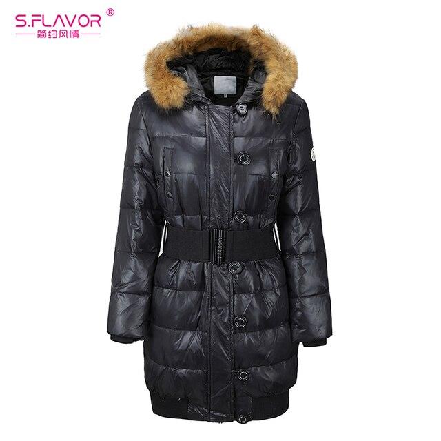 S. FLAVOR 2018 модные зимние теплые пуховики с меховым воротником Верхняя одежда с капюшоном тонкое пальто средней длины женская зимняя парка без пояса