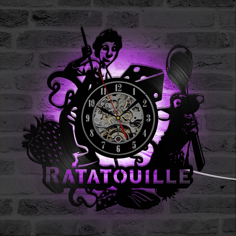 Ratatouille Cartoon Vinyl Record Wall Clock Kids Room Decoration Vintage Vinyl LED Clocks With 7 Backlight Wall Watch Home Decor