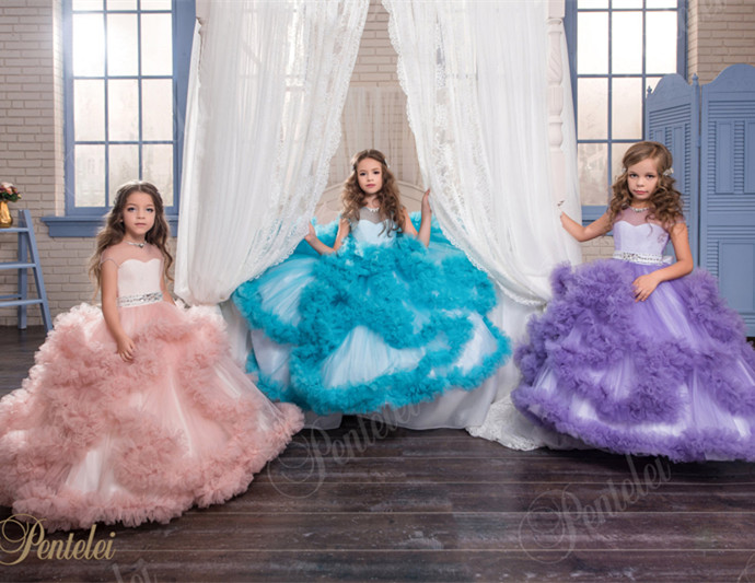 2019 Cloud Ball Gown Puffy Flower Girl Dresses First Communion Gowns For Girls Beaded Birthday Pageant Gowns Vestido De Daminha 2017 pretty pink first communion dress with bow puffy flower girl dresses girl pageant gown vestido de primera comunion