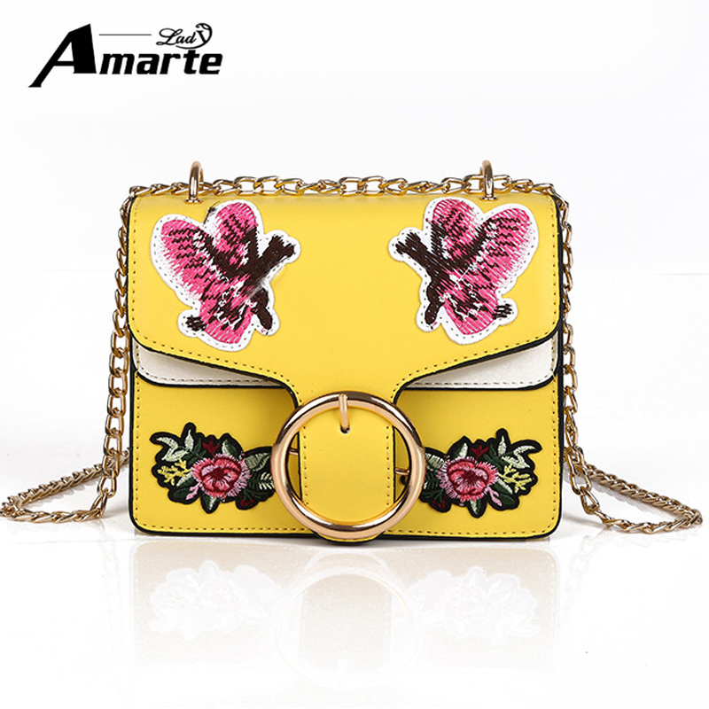 Amarte Women Shoulder Bags 2017 New Fashion Floral Embroidery Girls Messenger Bags Small Chain Crossbody Bags Ladies Bag Handbag new small crossbody bag casual shoulder bags women small fashion split leather messenger bags ladies fashion handbag women chain
