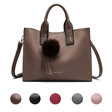 Women Leather Handbags Casual Brown Tote bags Crossbody Bag TOP-handle bag With Tassel and fluffy ball