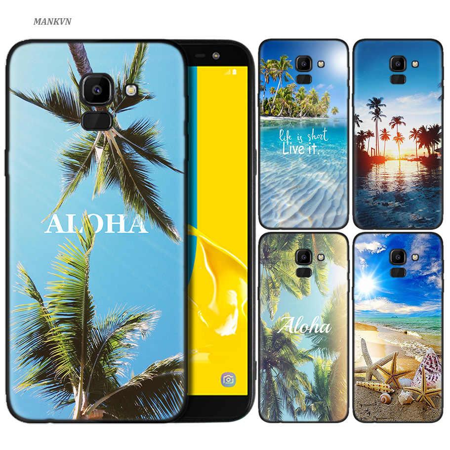 ซิลิโคนสำหรับ Samsung Galaxy J4 J6 A6 A8 Plus A7 A9 J8 2018 A5 2017 เชลล์สวย sunset palm trees aloha ฮาวาย
