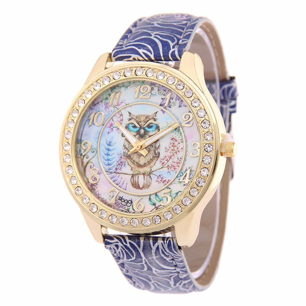 2018 Top Fashion Watch Women Crystal Leather Dial Cartoon Owl Charms Cute Quartz Wristwatch Steel Bracelet Gorgeous Delicate C5 cute owl style stainless steel quartz watch with keychain silver 1 x 377