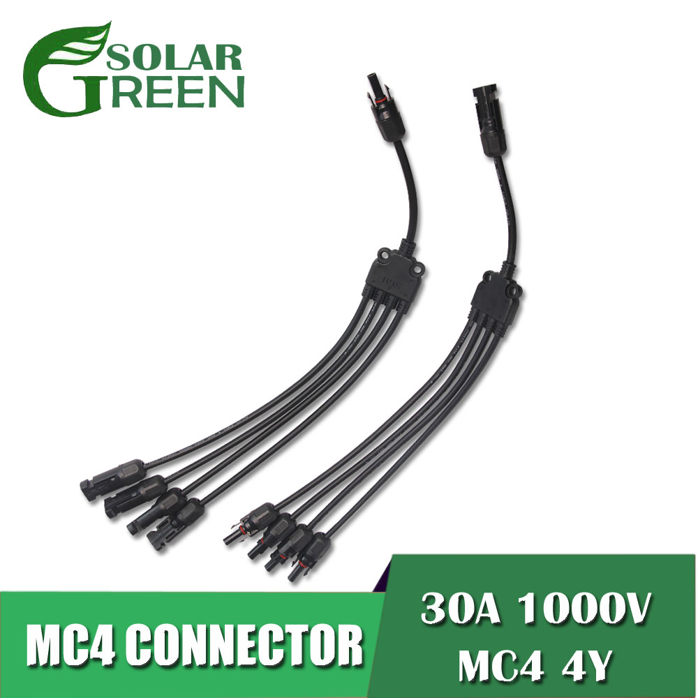 Male Female <font><b>MC4</b></font> Solar Style Y Branch <font><b>Adapter</b></font> Connectors 1 to 4 Solar Panel <font><b>Cable</b></font> Photovoltaics Connector <font><b>Adapter</b></font> Dropship image