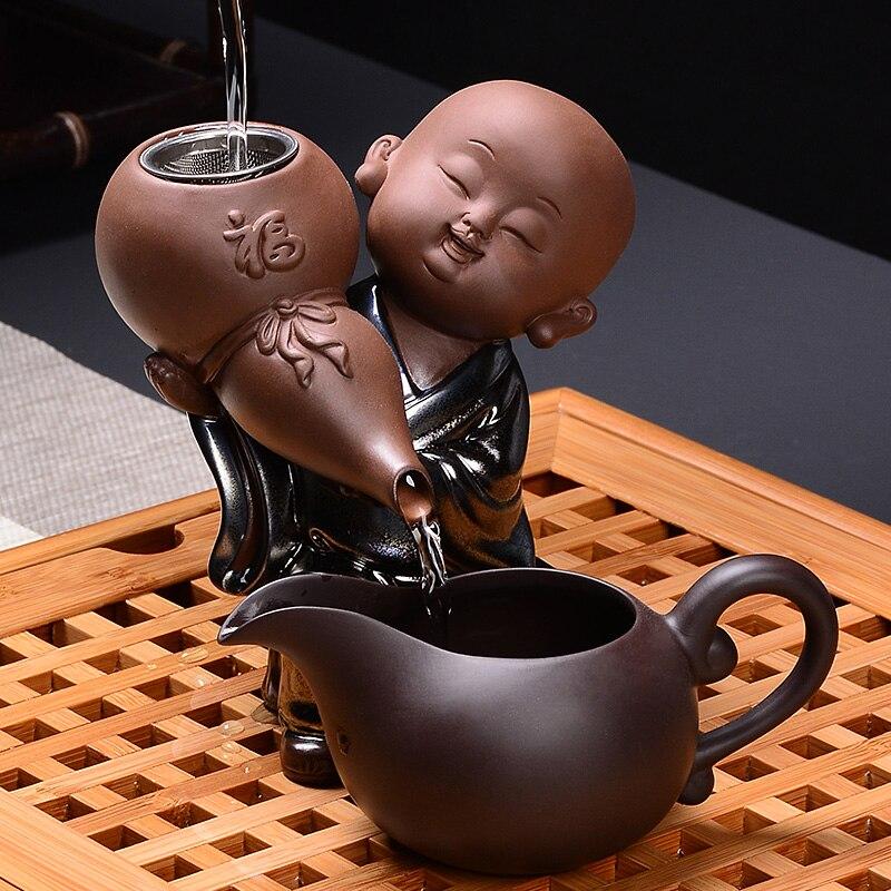 1 set Creative Moine Exquis Pourpre Argile à Thé En Céramique Passoire Passoires À 304 En Acier Inoxydable Thé Kung Fu Teaset Tasse Juste teaware
