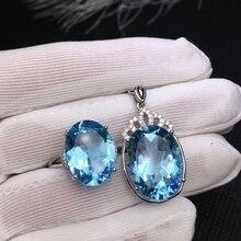 MeiBaPJ doğal İsviçre mavi Topaz takı seti 925 saf gümüş halka kolye kolye 2 takım elbise güzel düğün takısı kadınlar için
