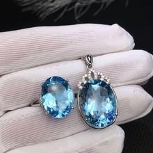 Meibapj Natuurlijke Zwitserland Blauwe Topaas Sieraden Set 925 Puur Zilveren Ring Hanger Ketting 2 Suits Fijne Bruiloft Sieraden Voor Vrouwen