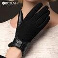 Genuine Leather Gloves Women Fashion Black Suede leather Thicken Plus Velvet Warm Winter Sheepskin Glove NW675