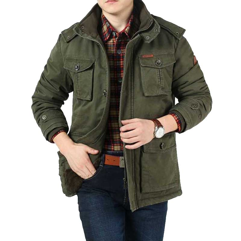 American Military Jackets Winter Men Hooded Fleece Coat Warm Thick Windbreaker Loose Parka Big Pocket Male Clothing Size 8XL