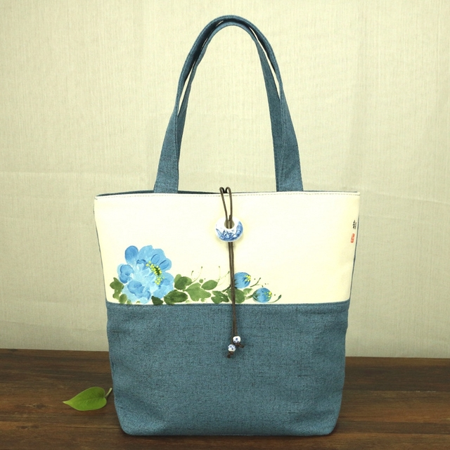 39be401a3 Chinese Painting Series Women Linen Canvas Tote Bag Flower Hand Painted  Ladies Soft Big Shoppers Shopping Handbag Jade Pendant