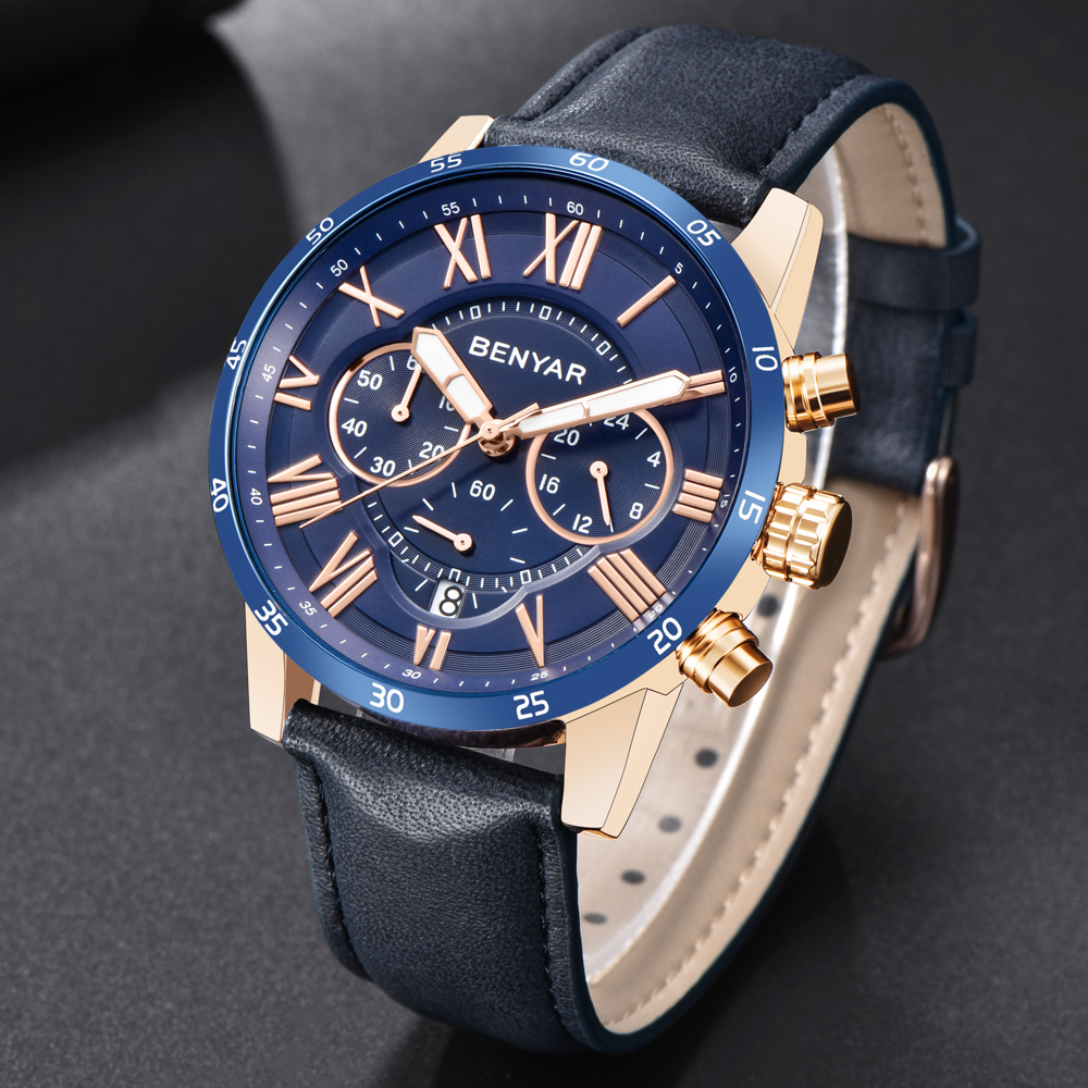 2018 BENYAR relojes de los hombres de la marca de lujo Reloj de cuarzo de moda de deporte cronógrafo Reloj Hombre hora Reloj Masculino