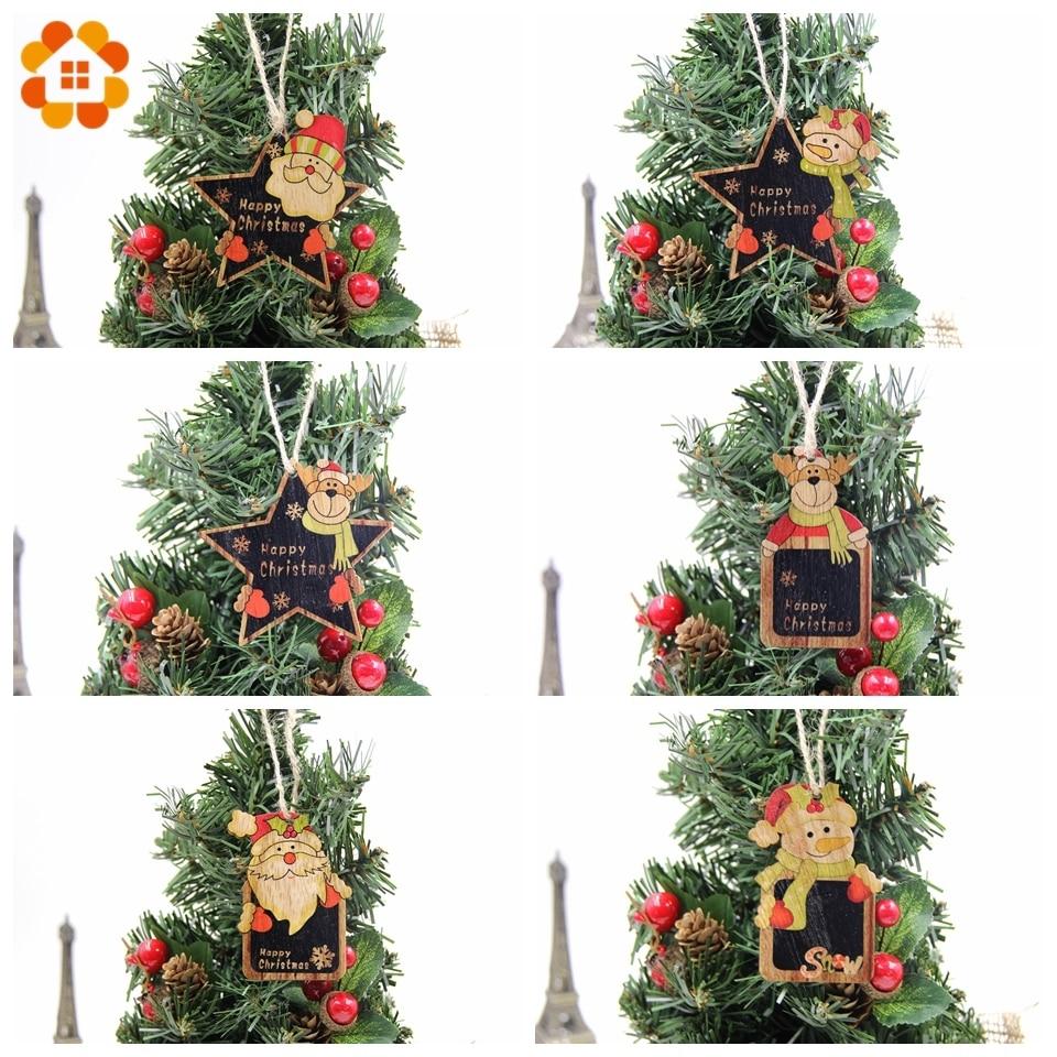 6PCS European Hollow Christmas Snowflakes Wooden Pendants Ornaments for Xmas Tre