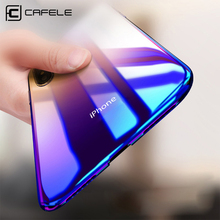 hot deal buy cafele case for iphone x 10 originality luxury aurora gradient color transparent case for iphone x 10 light cover hard pc cases
