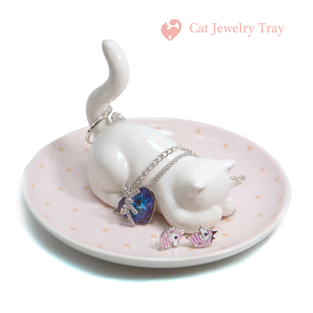 Cat Cute Ceramics Jewelry Tray Kitten Jewelry Dish,3D Animal For Earring Necklace Rings Organizer Storage Desktop Home Decor