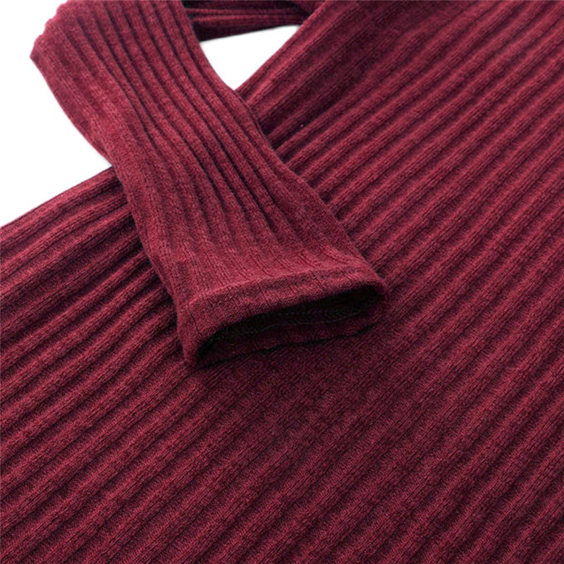 55ec382bf61 ... New Fashion Winter Autumn Long Sleeve Women s Turtleneck Sweaters Wine  Red Jumper Sweater Slim Dress Solid ...