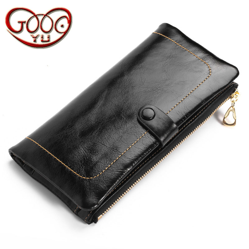 Korean version of the vertical square long clutch Clutch leather zipper lady multi-card bit purse