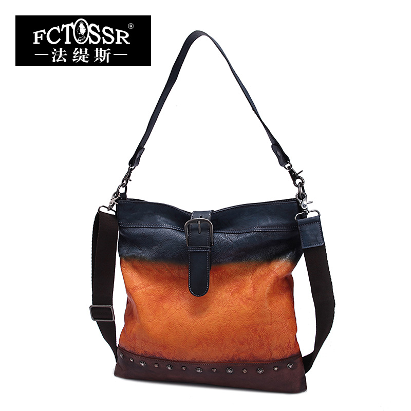 Women Bags 2017 Vintage Genuine Leather Handmade Top Handle Bag Shoulder Bags Casual Tote