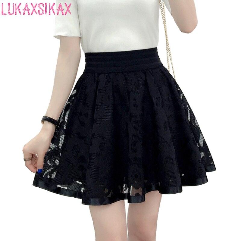 2019 New Spring Summer Women Black Mini Skirt Korean Elastic High Waist Skirt Shorts Sweet Mesh Tulle Umbrella Skirt Falda Tul