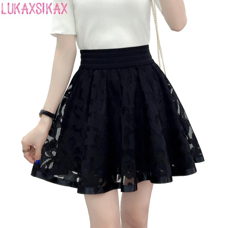 2020 New Spring Summer Women Black Mini Skirt Korean Elastic High Waist Skirt Shorts Sweet Mesh Tulle Umbrella Skirt Falda Tul
