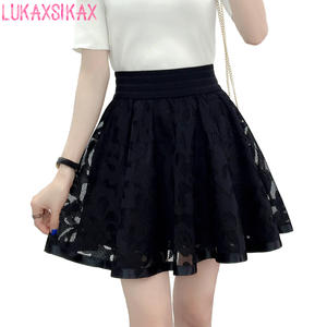 Skirt Shorts Falda Mesh Tulle Elastic Black High-Waist Korean Women Summer Spring Sweet