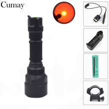 цена на 300LM RED LED Tactical Flashlight Torch Flash Light Linternas Mount 18650 Remote Pressure Switch
