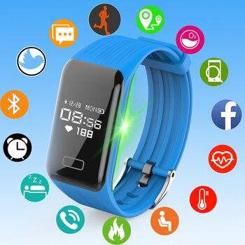 Reloj deportivo 2018 para hombre y mujer, reloj LED resistente al agua, pulsera inteligente con pulsómetro y presión arterial, reloj con podómetro para Android IOS