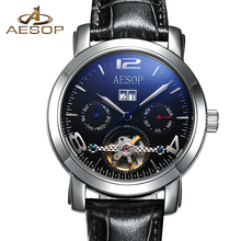ESOPO Negro Mecánico Automático de Los Hombres Reloj de Los Hombres de la Marca de Pulsera de Cuero Reloj de pulsera de Moda Hombre Reloj Relogio masculino Hodinky 46