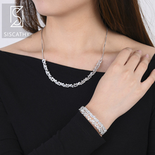 SISCATHY Luxury Cubic Zirconia Long Chains Adjustable Necklace Resizable Bangle Jewelry Sets For Women Wedding Accessories недорого
