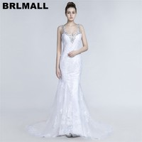 BRLMALL Amazing White Spaghetti Straps Mermaid Wedding Dresses 2017 Beaded Crystal Lace Appliques Bridal gowns Vestido De Noiva