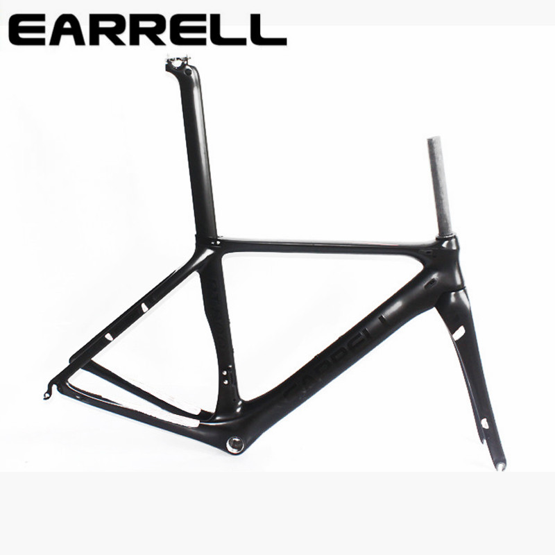 2017 EARRELL carbon bike frame 700C bicycle carbon road frameset with fork accessories brake chinese carbon frames WITHE silverock air carbon folding bike frame fork 20 1 1 8 folding bicycle frameset seatpost caliper disc brake 451 406 compatible