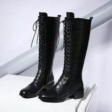 34-43 women's boots 2016 new fashion casual lace-up high boots