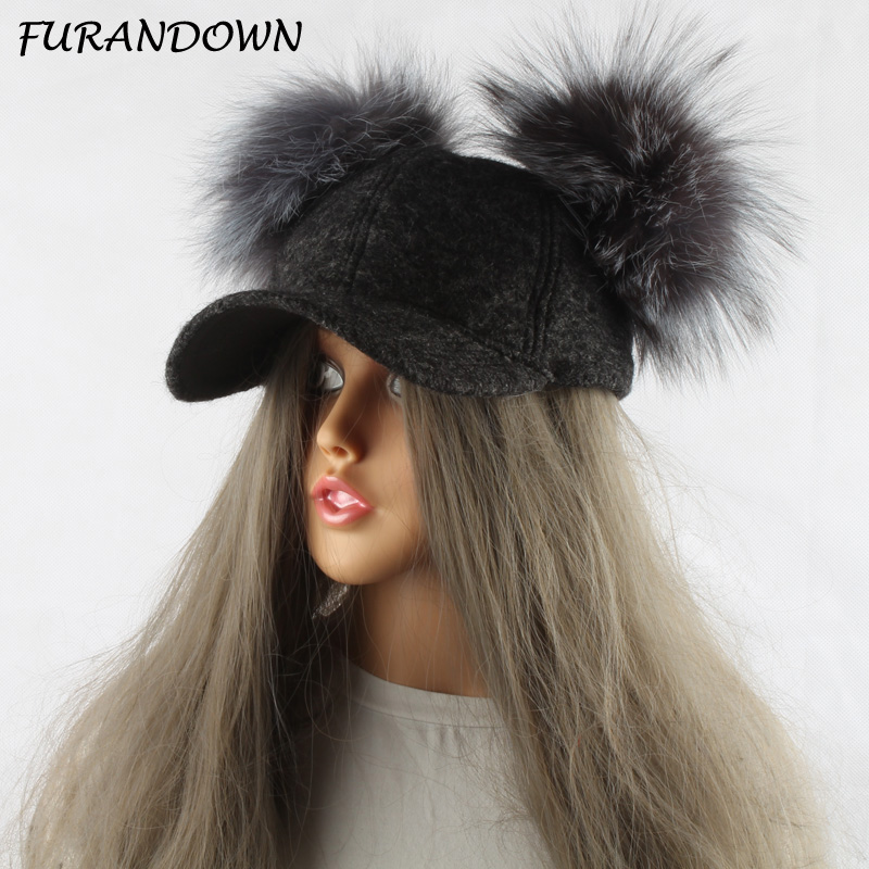 FURANDOWN Real Silver Fox Fur Pompom Hat For Kids Women Cartoon Two Pom Poms Baseball Caps Brand Snapback Hip hop Hat Cap