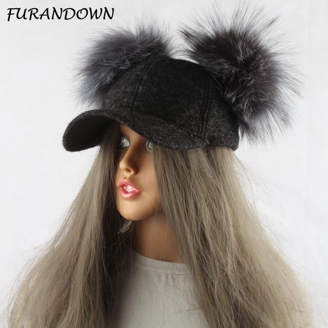 b74e19078c6 FURANDOWN Real Silver Fox Fur Pompom Hat For Kids Women Cartoon Two Pom Poms  Baseball Caps