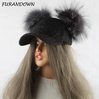 FURANDOWN Real Silver Fox Fur Pompom Hat For Kids Women Cartoon Two Pom Poms Baseball Caps Brand Snapback Hip hop Hat Cap