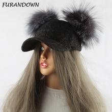 Real Silver Fox Fur Pompom Winter Hat For Women Kids Cartoon Two Pom Poms Baseball Caps Brand Snapback Hip hop Hat Cap