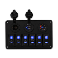 6 Gang Waterproof 12v Rocker Boat Switch Panel USB Circuit Breakers Vehicle Auto Marine Car Switch