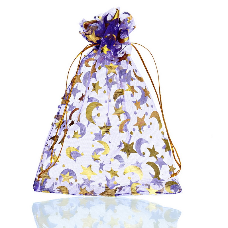 MJARTORIA 50PCs Purple Organza Gift Bags Gold Tone Moon Star Pouches For Jewelry Packaging Wedding Chrismas Favor 13 X18cm
