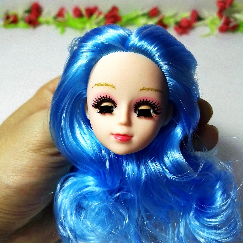 3D blink eye Head for barbie doll Excellent Quality Head Doll with curly hair DIY Accessories For Barbie Dolls 1/6 Girl toy gift 25 28cm head blonde dark brown doll hair for handmade doll hair for homemade cloth toy diy dolls 18 inch doll hair repair 006