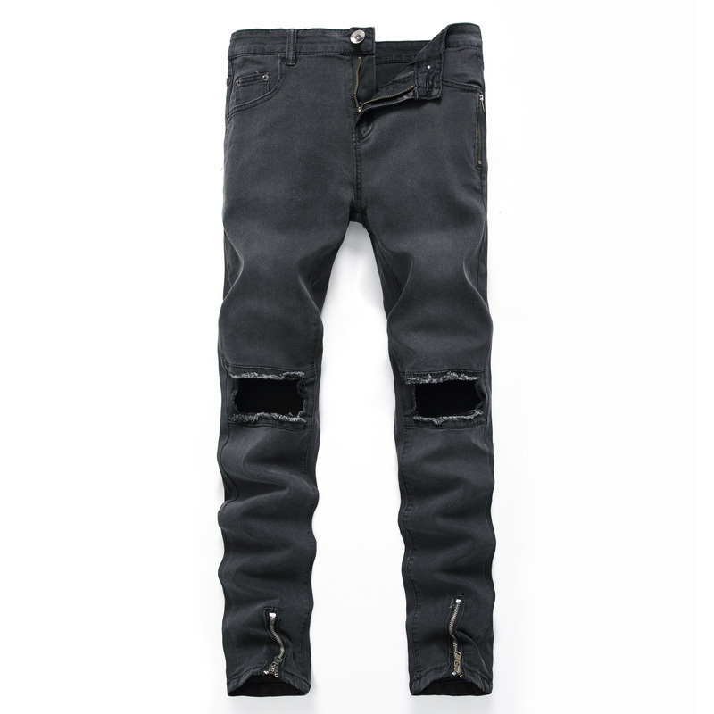 2018 new mens personality in the waist zipper big hole jeans spring and autumn black gray fashion elastic burst trousers