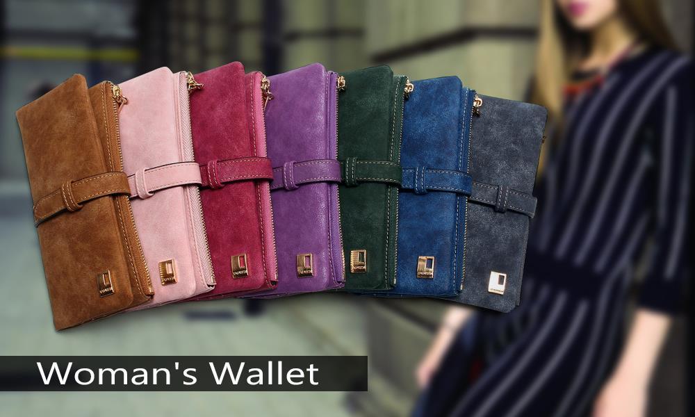 Women's Drawstring Nubuck Leather Zipper Wallet
