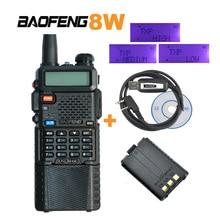 3800mAh Battery Baofeng PTT 8W Dual Band V/UHF Ham Transceiver two way Radio Walkie Talkie UV-8HX, uv-5re plus+programming cable