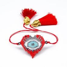 Shinus 5pcs/lot Red Heart Pulseras MIYUKI Bracelets Turkish Evil Eyes 2019 Women Bracelet Handmade Jewelry Gift Delica