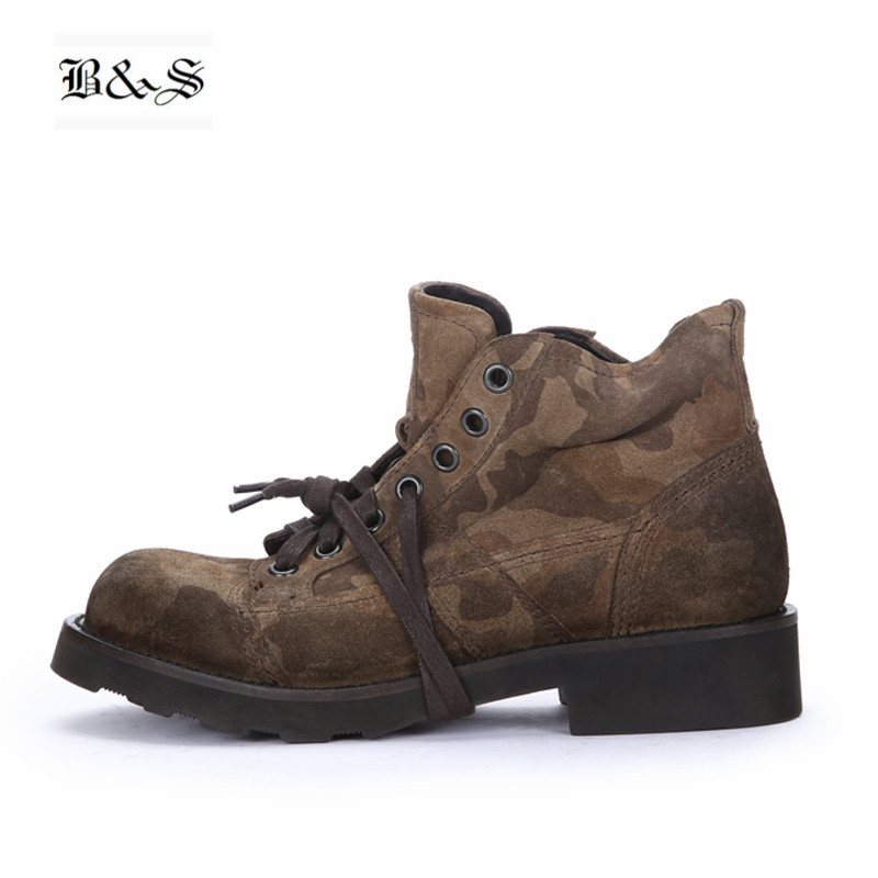 Black&Street High End Handmade Camouflage Martin Boots frist yard cow Suede Leather Thick Sole Tooling Military desert Boots men s desert military boots touch guy cow suede genuine leather ankle martin boot