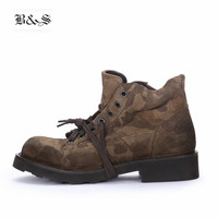 Black&Street High End Handmade Camouflage Martin Boots frist yard cow Suede Leather Thick Sole Tooling Military desert Boots
